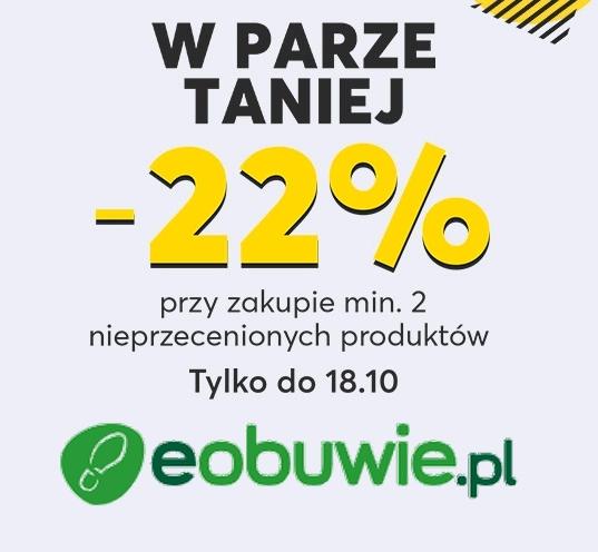 22% zniżki przy zakupie dwóch par nieprzecenionych butów w @eObuwie