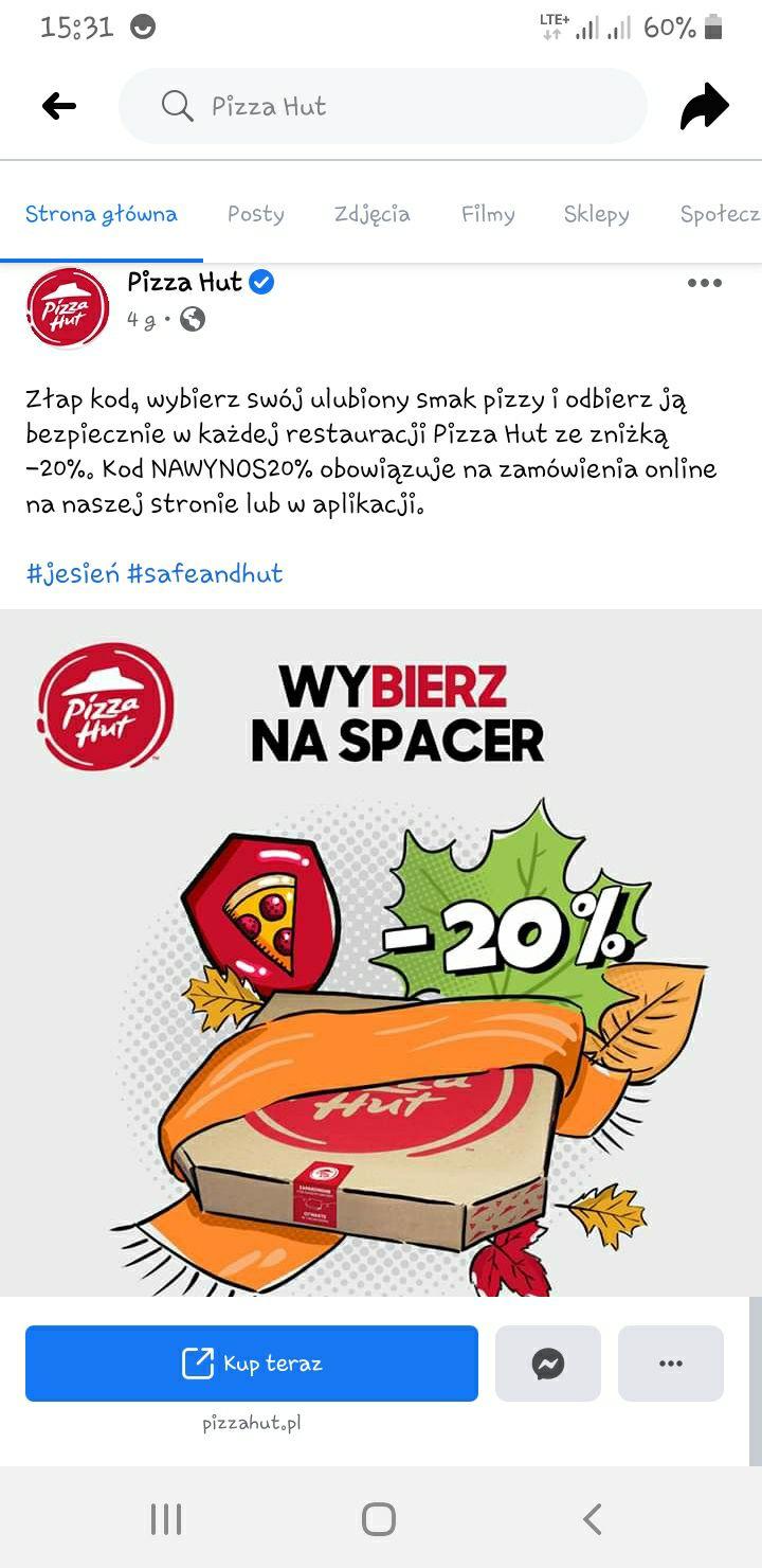 Pizza hut -20%