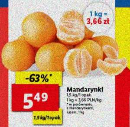 Mandarynki 1,5 kg/opak. (3,66 zł/kg) @Lidl