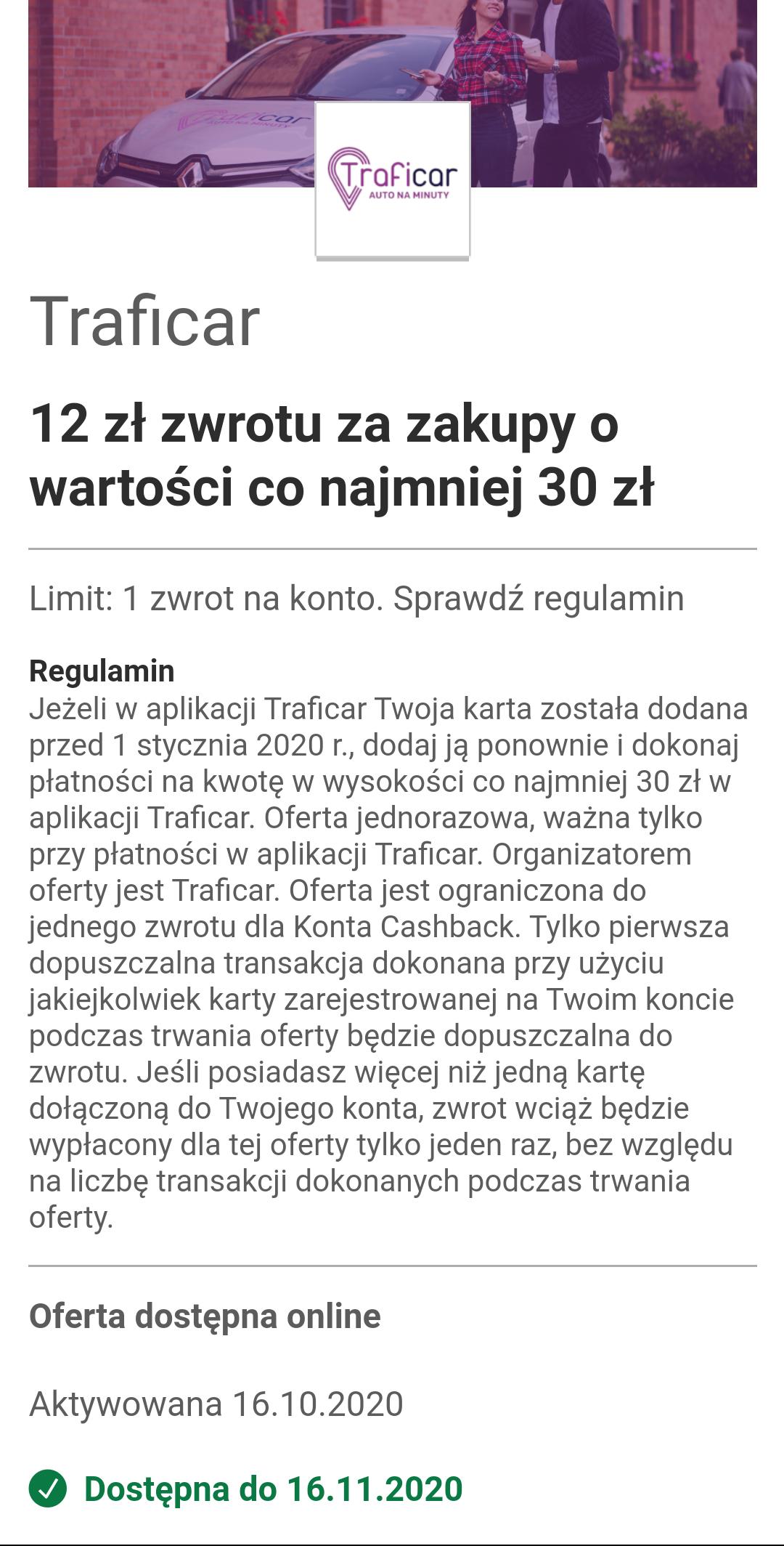 Visa Oferty - Traficar zwrot 12zl przy wydanych 30zl