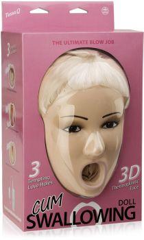DMUCHANA LALKA 3D Z TERMOPLASTYCZNĄ GŁOWĄ 3 SEX OTWORY