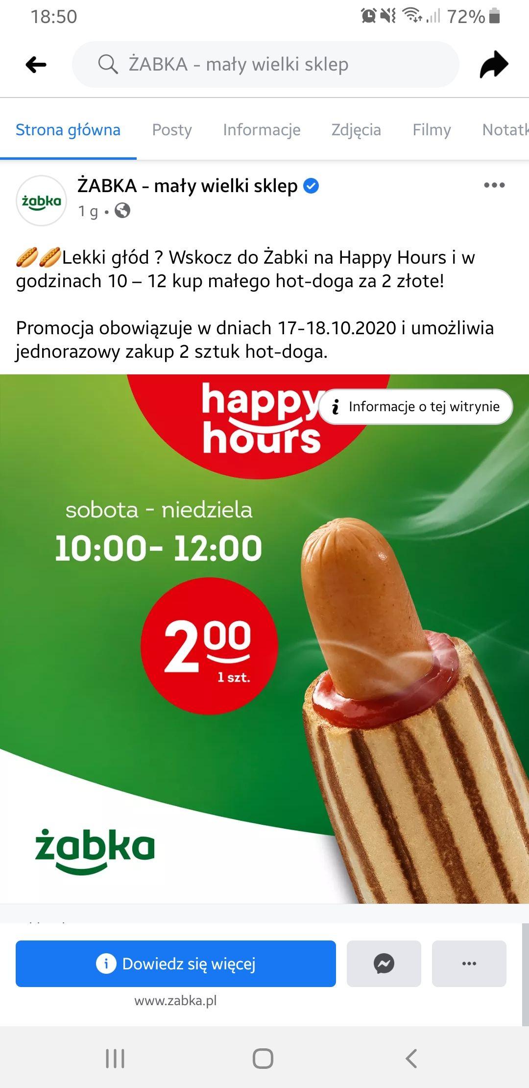 Mały Hot Dog za 2 zł od 10 do 12 weekendowe happy hours