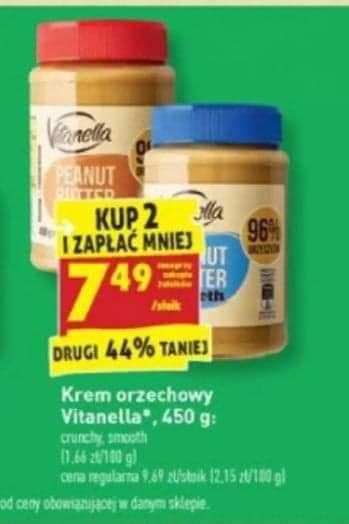 Masło orzechowe Vitanella - taniej przy zakupie dwóch @ Biedronka