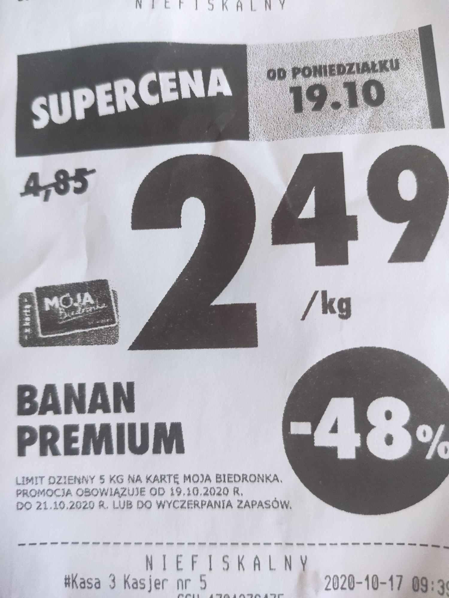 Banany Biedronka 2.49zł/kg ( z karta MB)