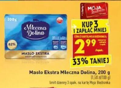Masło Ekstra 200g przy zakupie 3 szt. @Biedronka