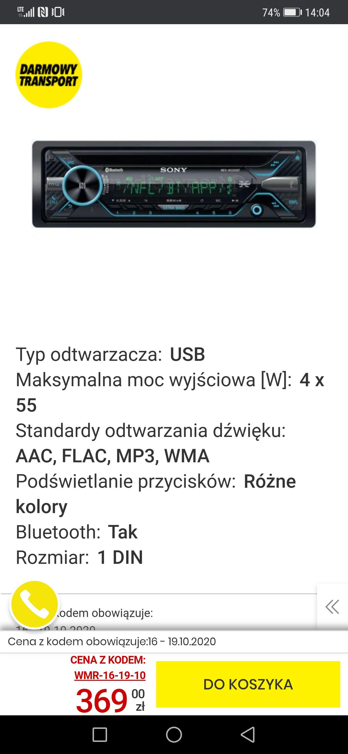 Radio samochodowe SONY MEX-N5200BT
