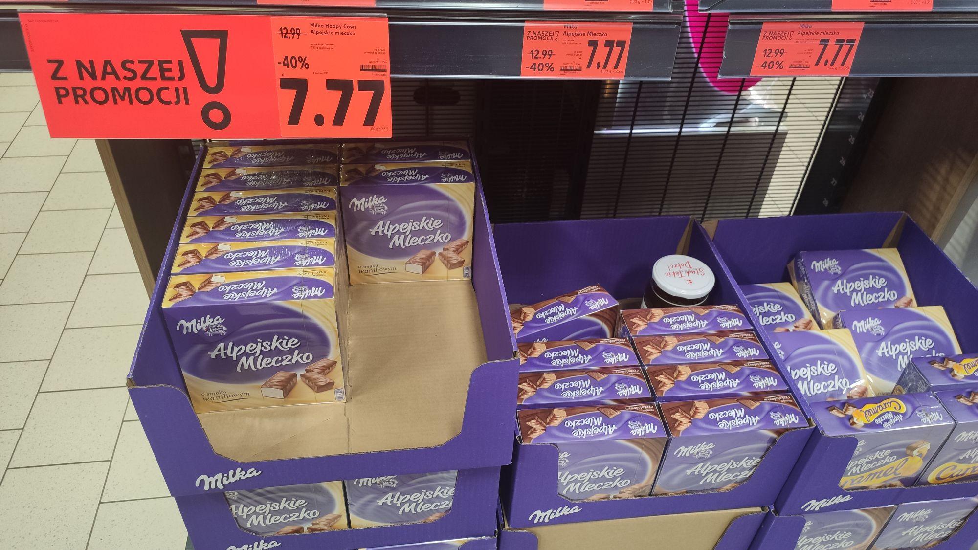 Alpejskie mleczko, kaufland -40%, 7,77zł