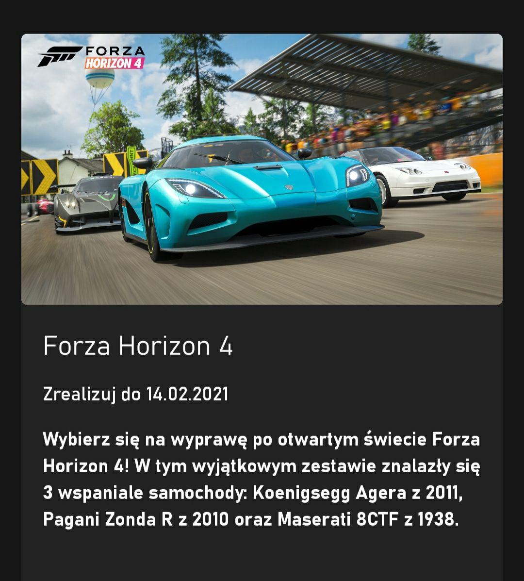 Darmowe samochody do Forza Horizon 4 z GamePass