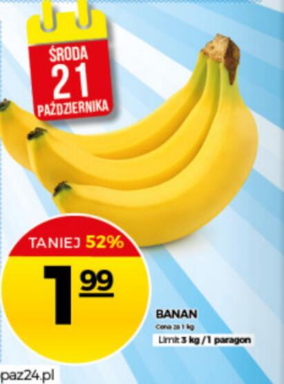 Banany w Topaz po 2 zł 21 października
