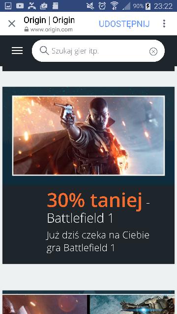 BLACK FRIDAY - Battlefield 1 / 30% taniej