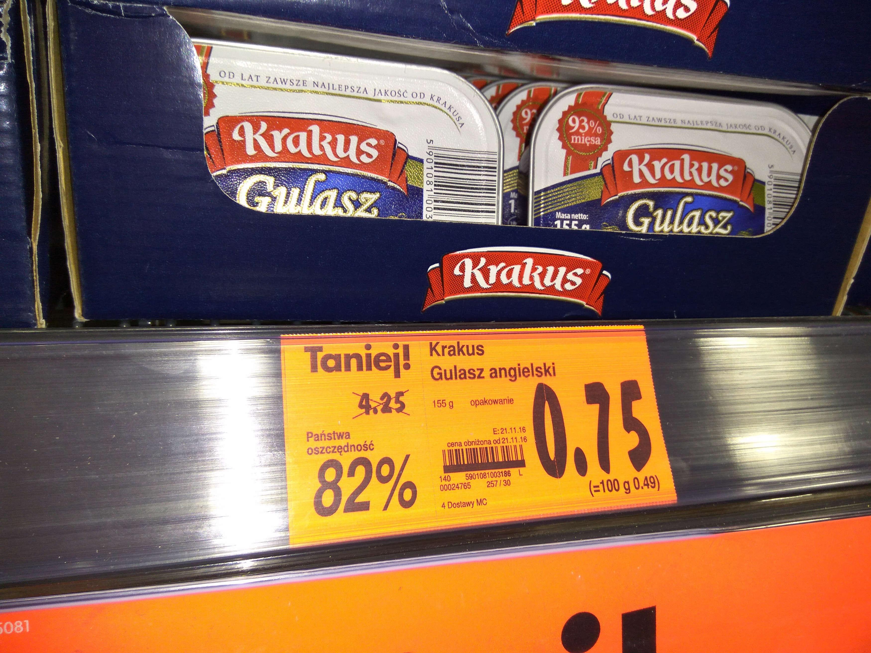 Gulasz angielski Krakus 82% taniej ! Kaufland Kielce.