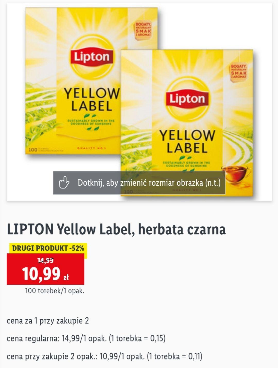 Czarna herbata LIPTON Yellow Label 100 torebek, cena za opakowanie przy zakupie dwóch