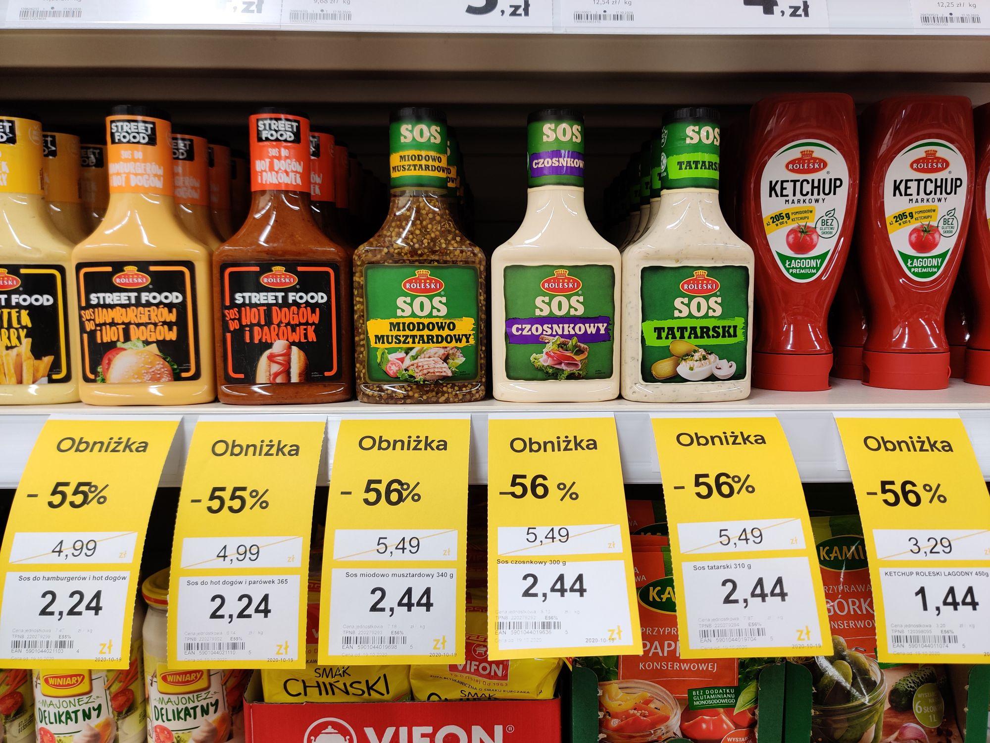Wyprzedaż sosy i ketchupy około 55% Tesco