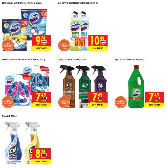 Produkty Cif i Domestos 25% taniej w Biedronce - zawieszki, żel, spray, płyn