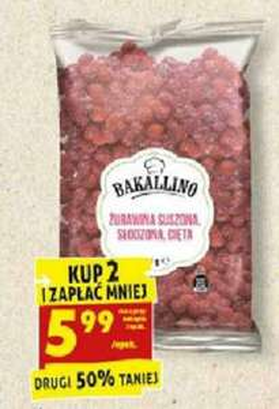 Żurawina suszona Biedronka 5,99 /300g przy zakupie 2 opakowań (19,99zł/kg)