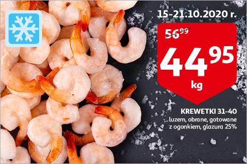 Krewetki 31-40 gotowane za 44.95zł/kg na auchan