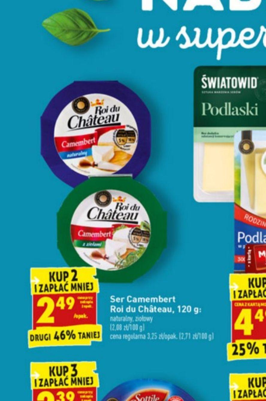Ser camembert cena 2.49 za szt, przy zakupie 2 biedronka