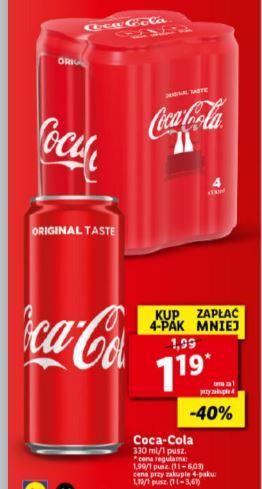 Coca Cola 0,33 ml w Lidlu ( cena przy zakupie 4 puszek)