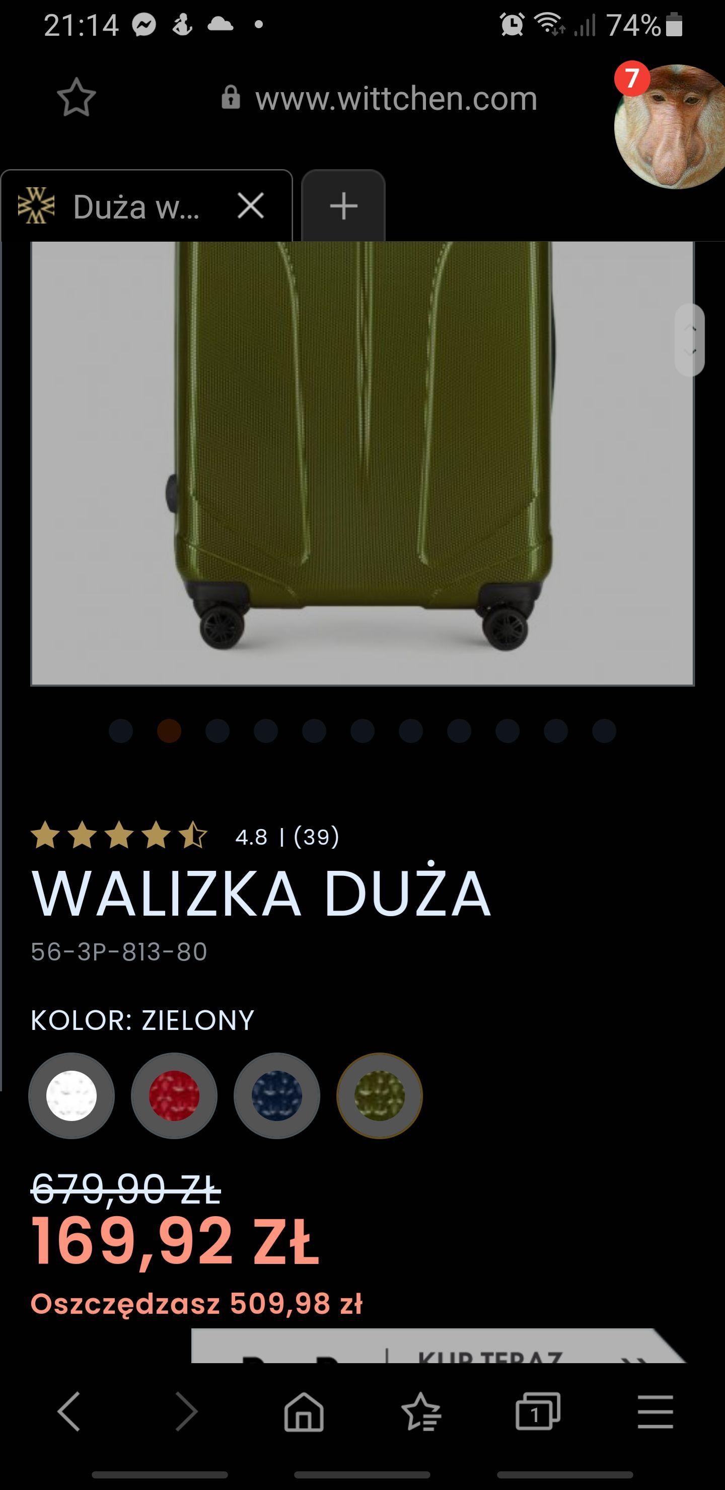 """Duża walizka Witchen Kolor """"Zielony"""""""