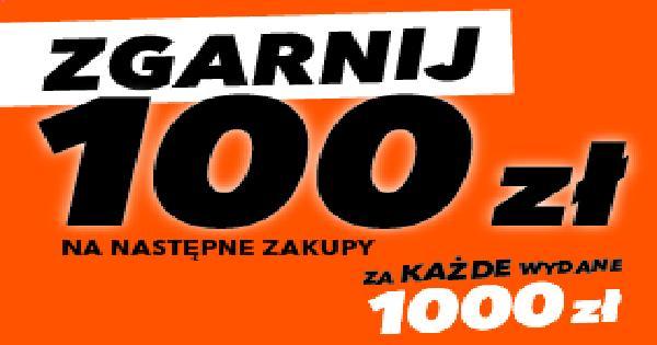 100zł w bonie na przyszłe wydatki, za zakupy o wartości min. 1000 zł i wielokrotności
