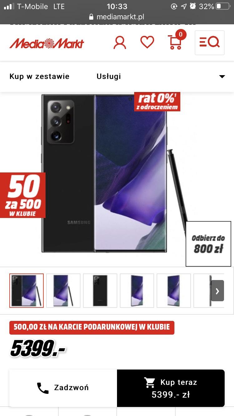 Samsung Galaxy Note 20 ULTRA czarny koncowo za 4099