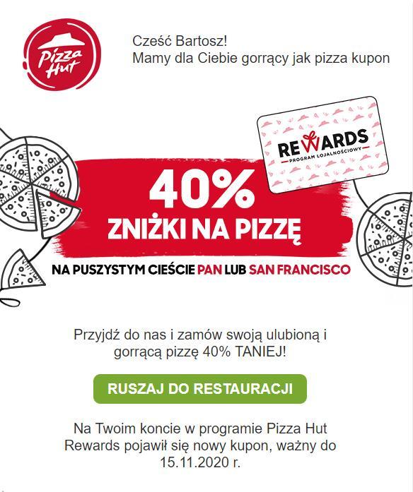 Pizza hut rewards - 40% na pizze dla wybranych