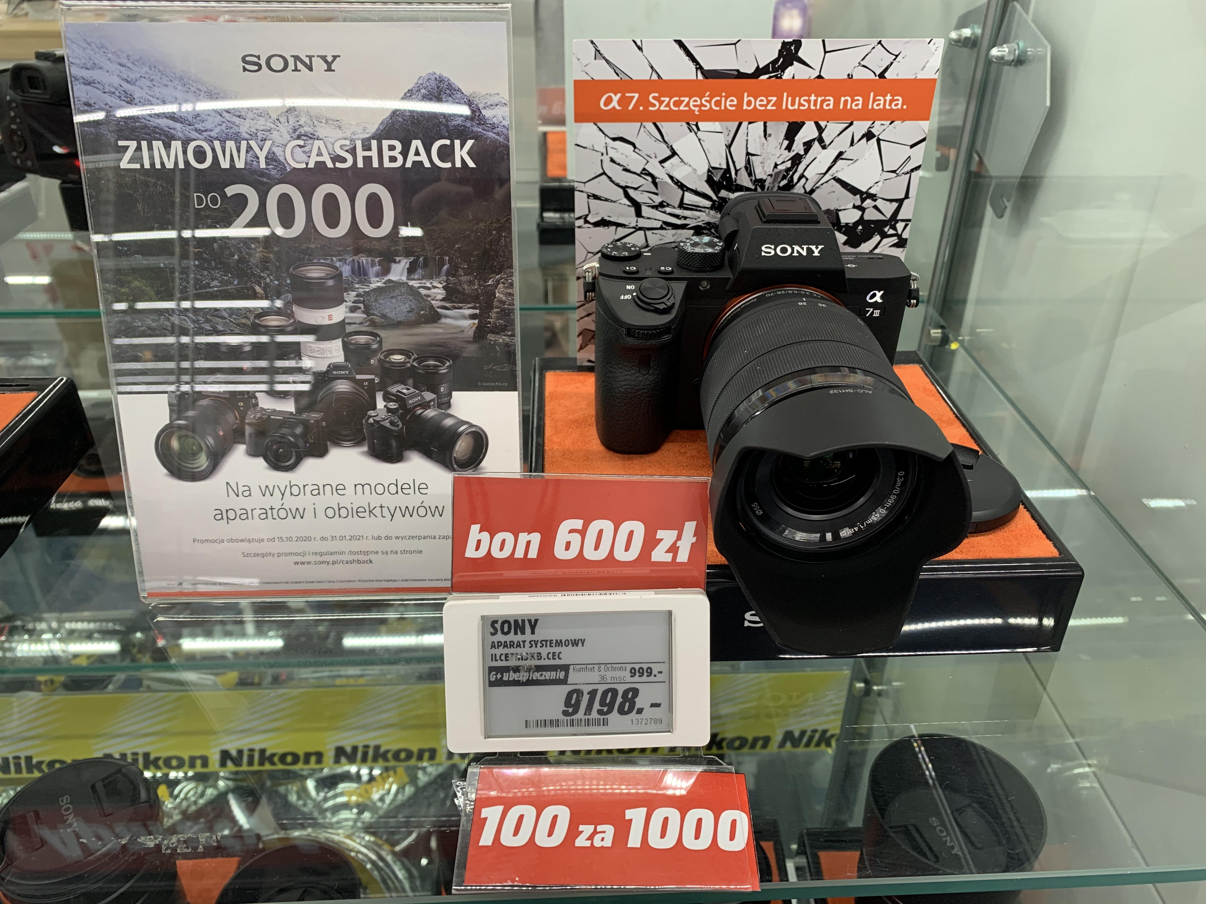 Sony a7 III obiektyw kit za 6700, 1500 zł w bonach i 1000 zł cashback. Mediamarkt Gdansk