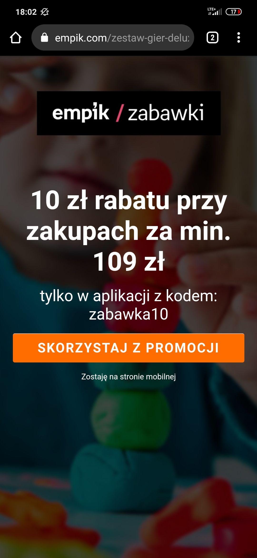 Empik kod rabatowy 10 zł na zabawki za min. 109zł (aplikacja)