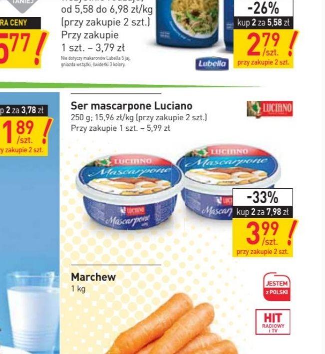 Serek mascarpone 3.99 za 250g, przy zakupie 2 opakowań-stokrotka