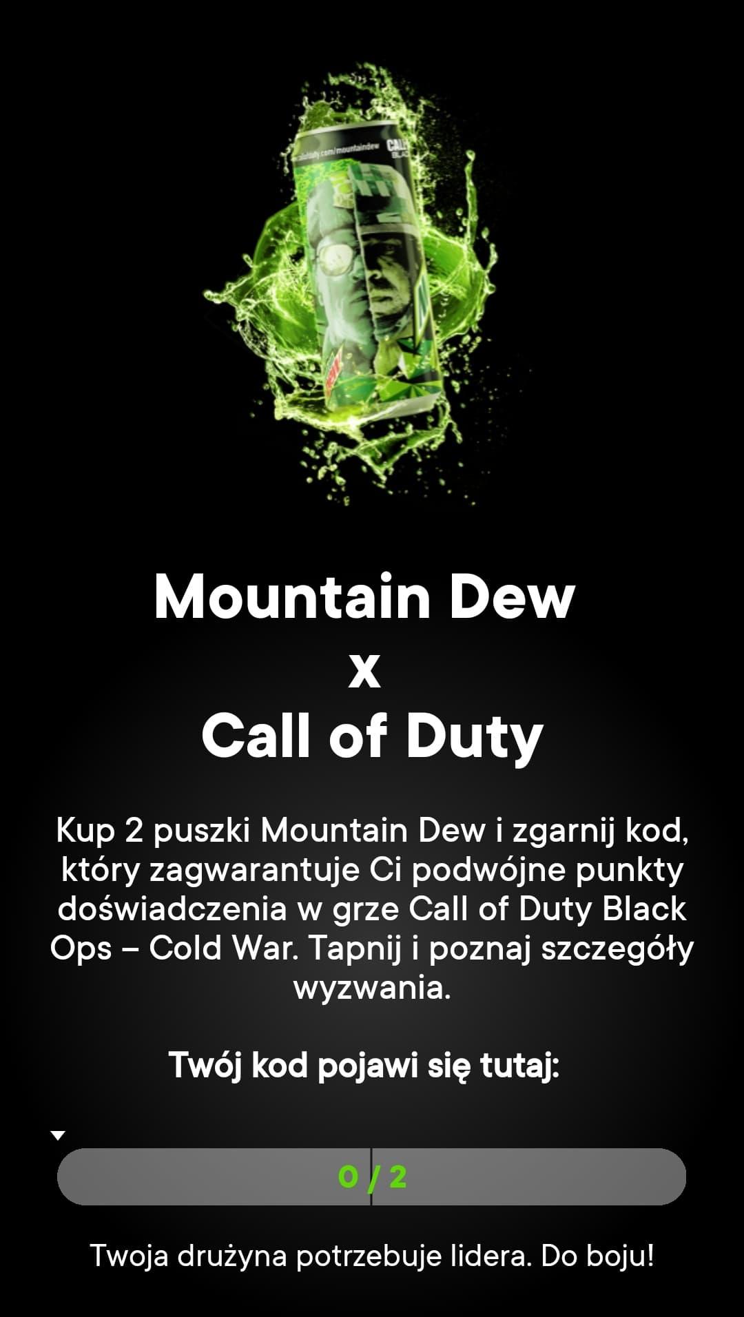 Żabka - Kup 2 puszki Mountain Dew i otrzymaj kod 2XP 15 min do Call Of Duty: Black Ops Cold War