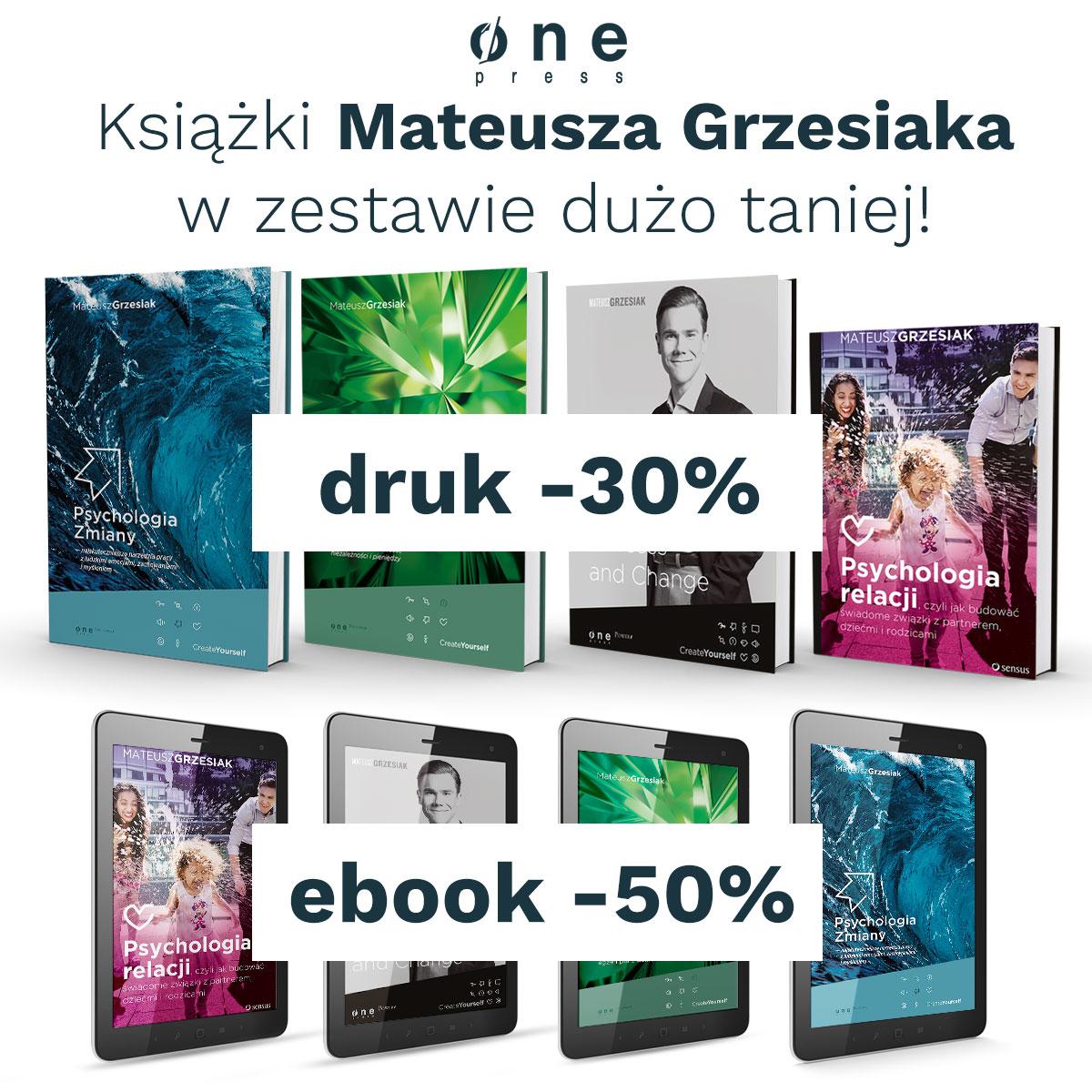 KsiążkI Mateusza Grzesiaka -30/50% zestaw @ Onepress