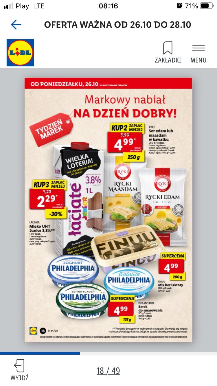 Mleko łaciate junior 1l 3,8% przy zakupie 3szt