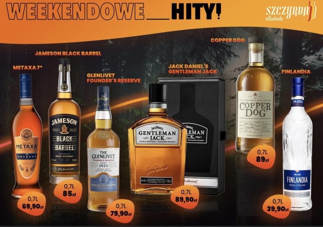 Whisky Glenlivet Founders Reserve, Gentleman Jack, Copper Dog i inne