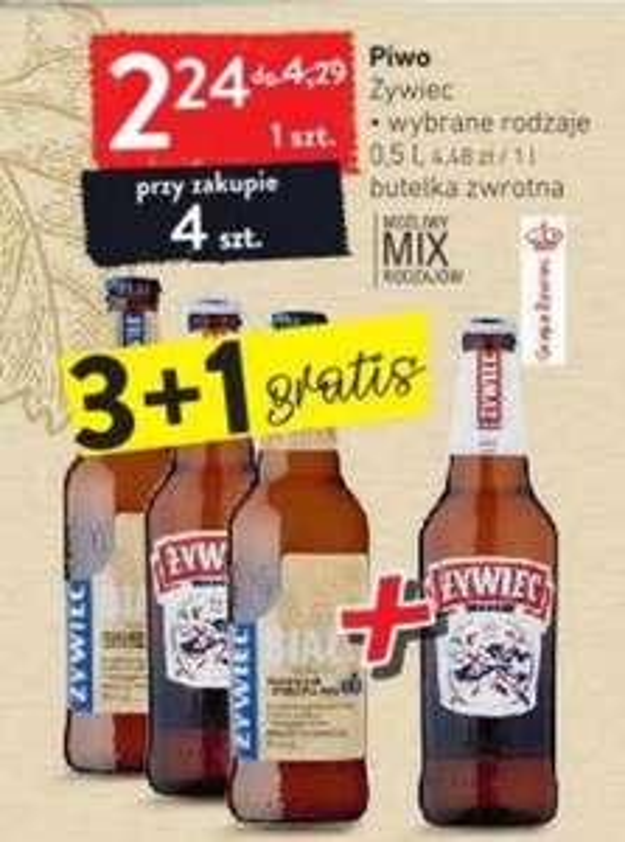Piwo Żywiec butelka 0.5l, mix wybrane rodzaje, przy zakupie 4 szt. - Intermarche