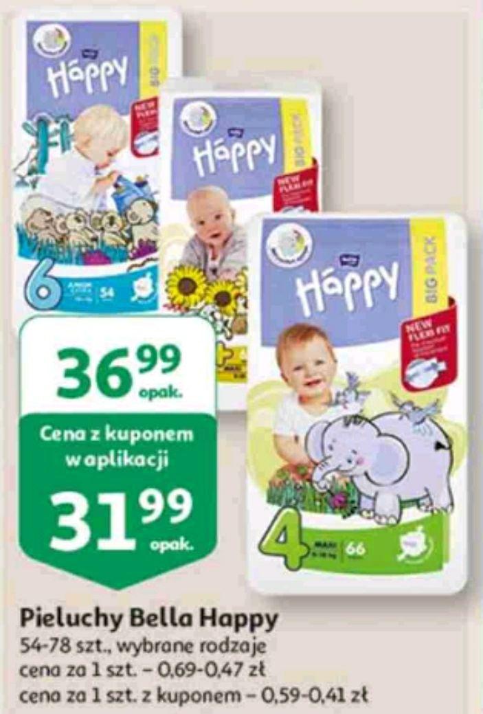 Auchan 4 x Pieluchy Happy różne rozmiary Skarbonka + Aplikacja Auchan
