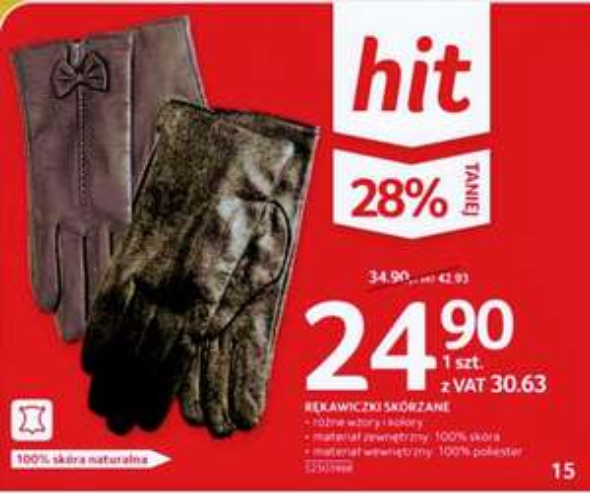 Rękawiczki skórzane,materiał zewnętrzny 100% skóra naturalna,różne wzory i kolory,gazetka Selgros oferta ogólnopolska.