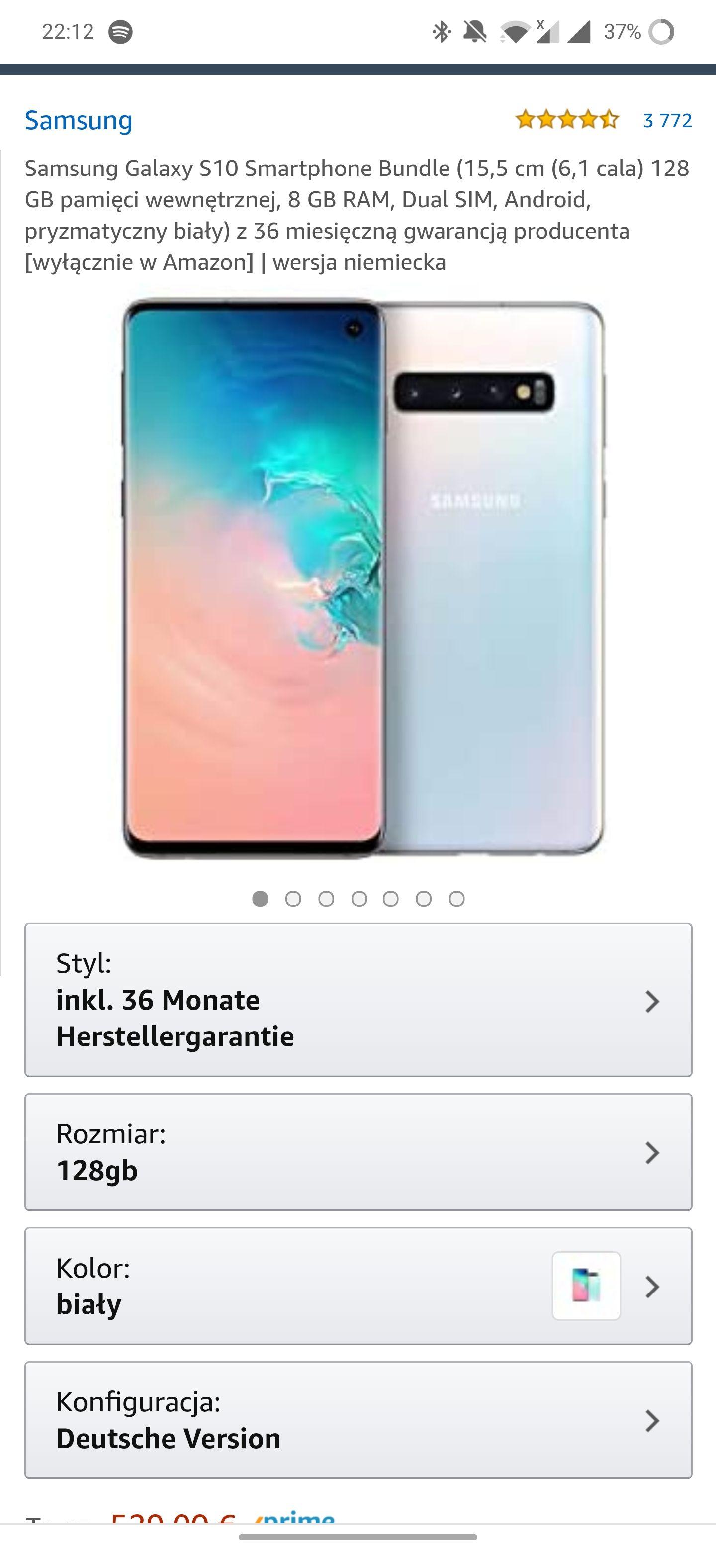Samsung Galaxy s10 white 478 euro