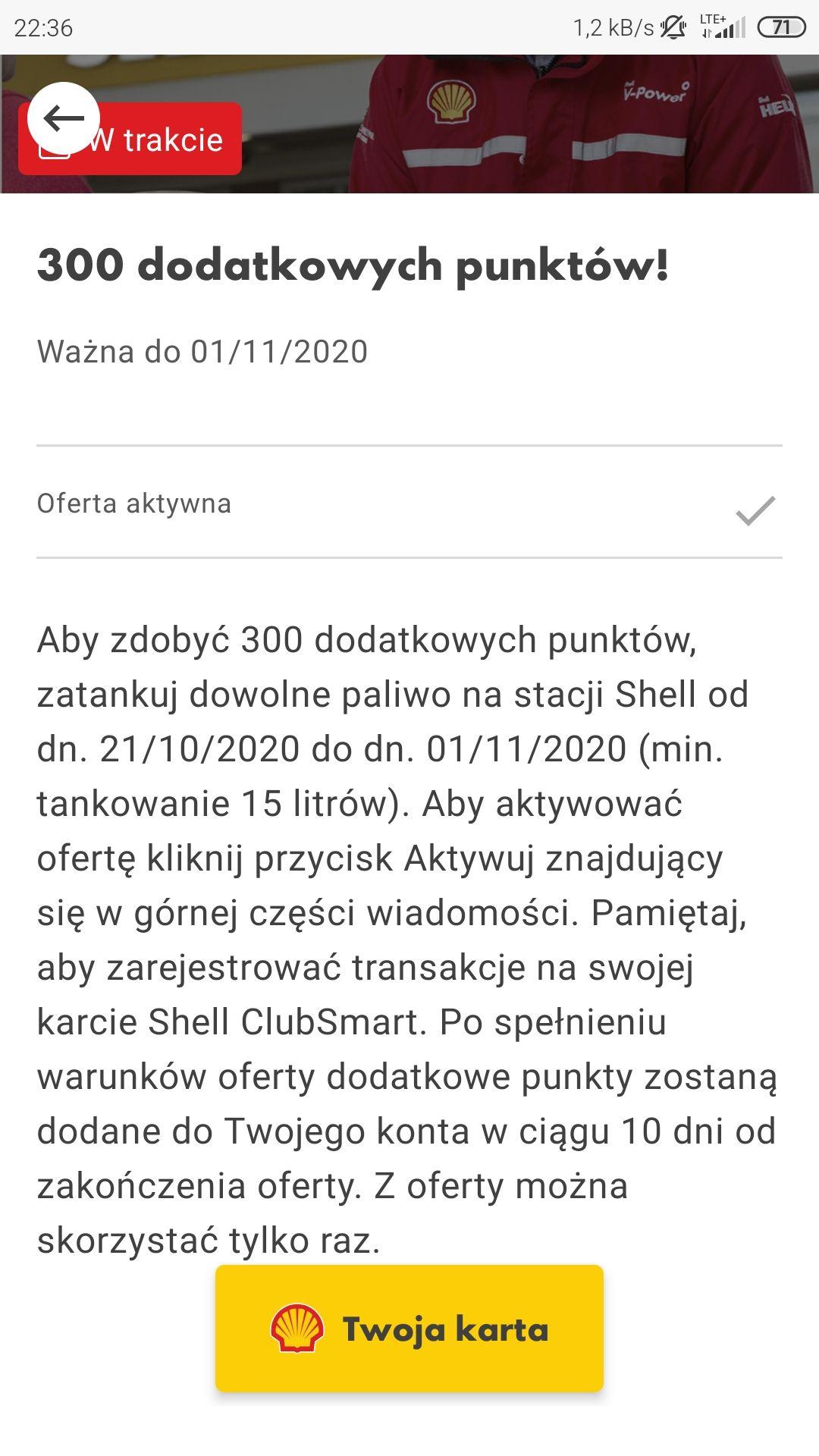 Shell - dodatkowe 300 pkt w aplikacji