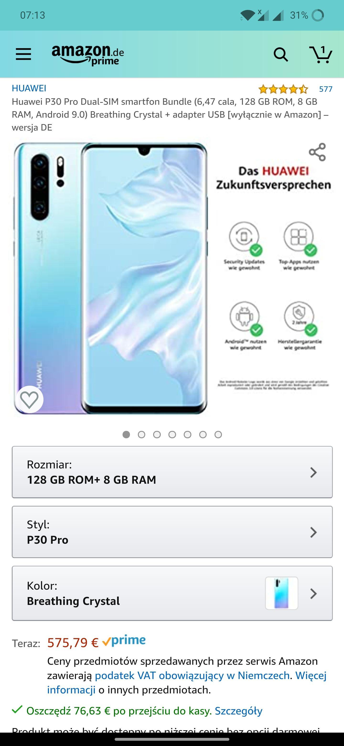 Huawei p30 pro 8/128 499,16€