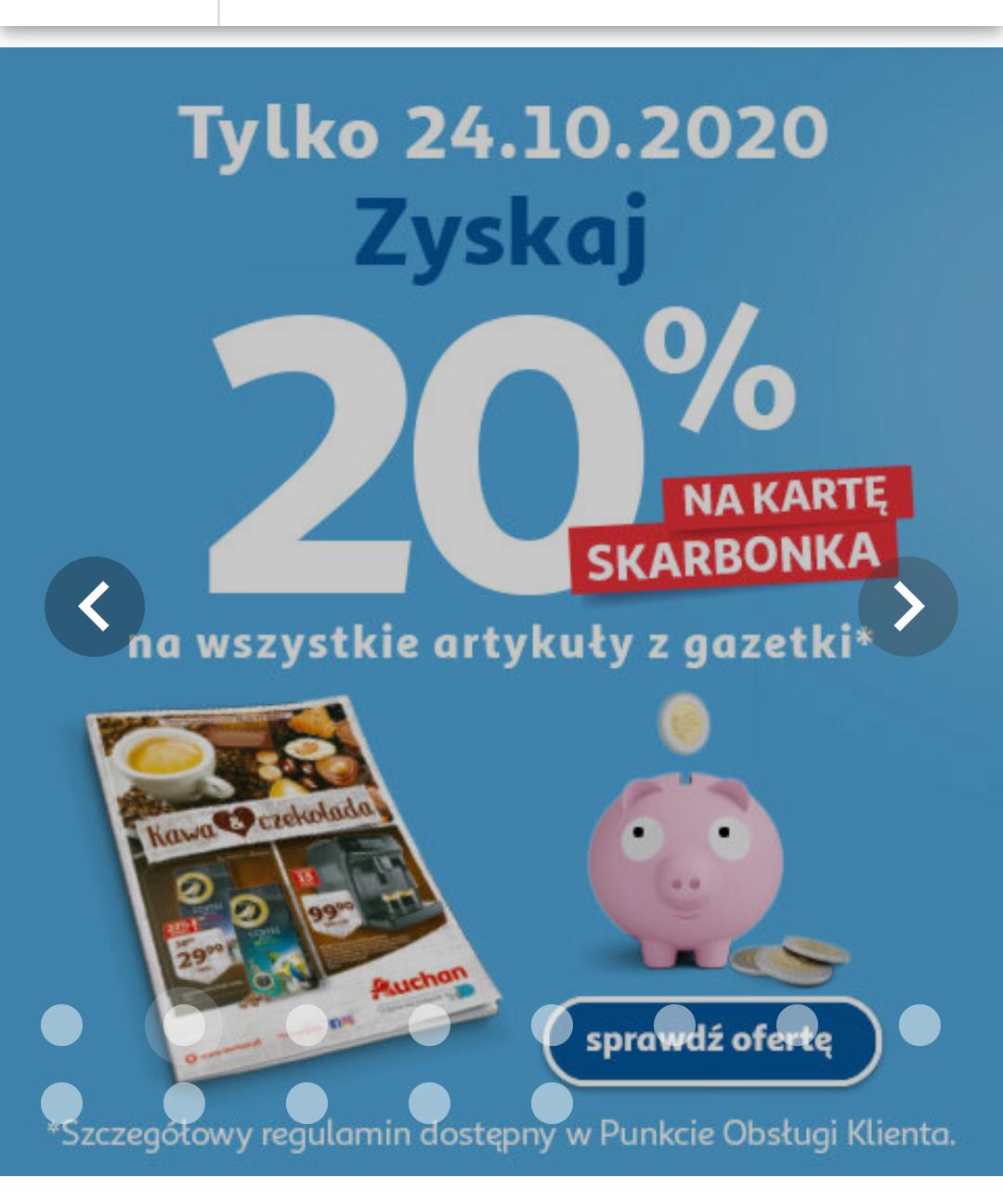 Auchan 20% na kartę Skarbonka z gazetki Kawa&Czekolada