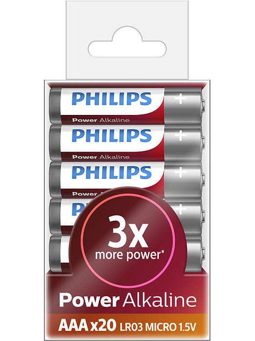 20 baterii Philips PowerAlkaline AAA