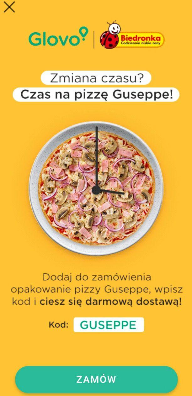 """Biedronka Glovo darmowa dostawa po dodaniu pizzy Guseppe i wpisaniu kodu """"GUSEPPE""""."""