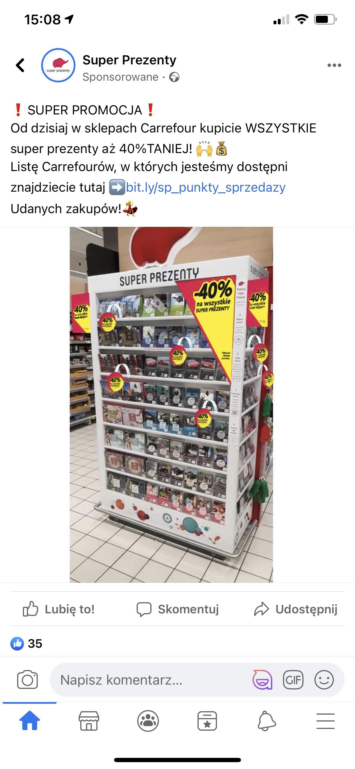 Superprezenty -40% w sklepach Carrefour