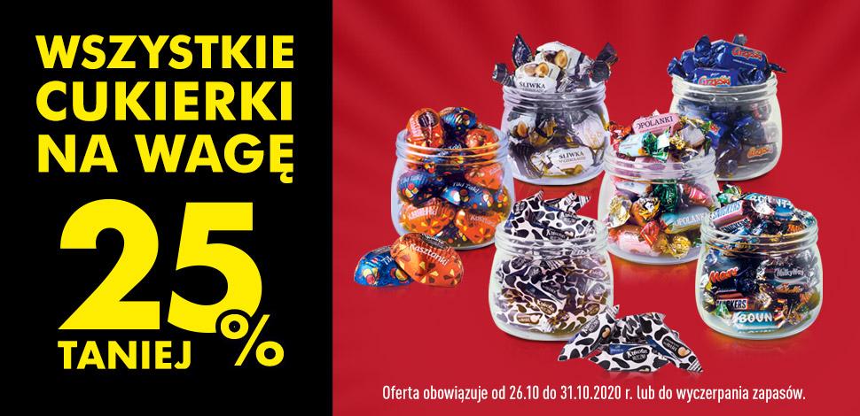Wszystkie cukierki na wagę 25% taniej - Biedronka