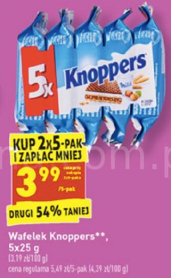 Wafelek Knoppers 5x25g przy zakupie 2 opak. @Biedronka