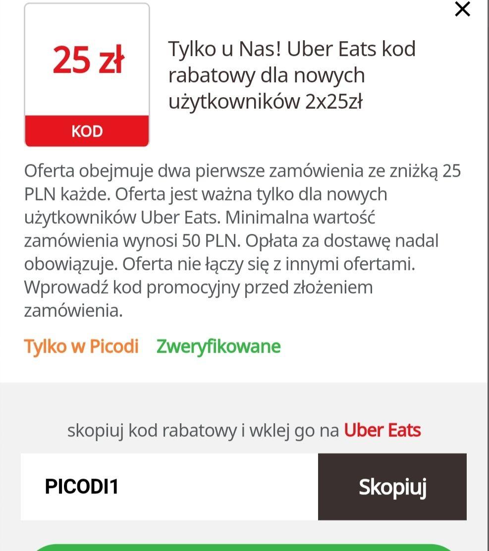 Zniżka 25/50 x2 Uber Eats dla nowych