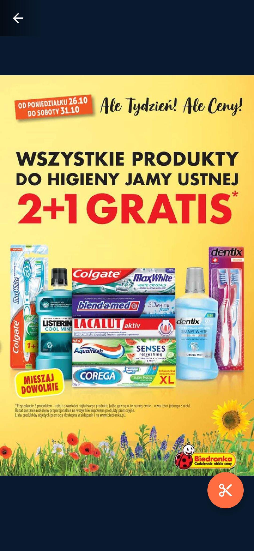 Wszystkie produkty do higieny jamy ustnej 2+1 gratis. Biedronka