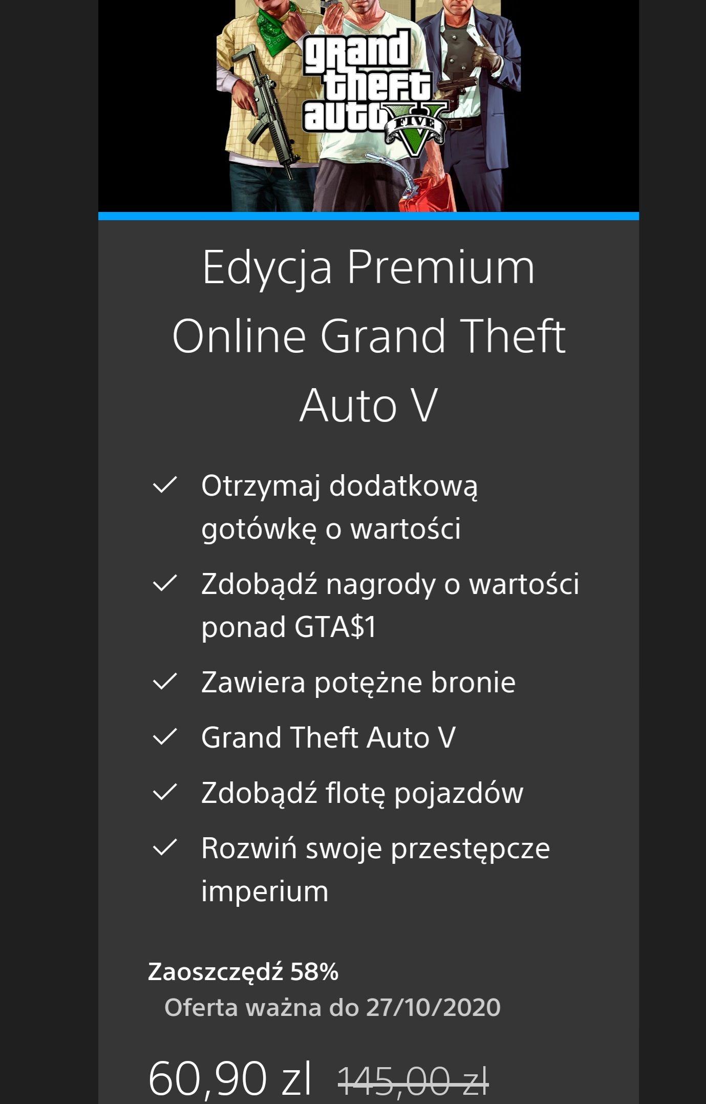 GTA 5 na PS4 PS Store, Edycja Premium Online Grand Theft Auto V