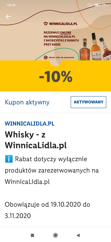 Rabat -10% w Winnicy Lidla na Whisky i napoje alkoholowe