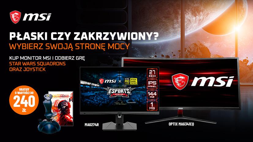 Kup monitor MSI objęty promocją i odbierz grę PC Star Wars Squadrons oraz Joystick Thrustmaster T.Flight Stick X